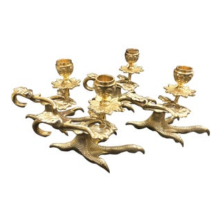 Cast Brass Brass Bird Talon Candle Holder - Set of 4 For Sale