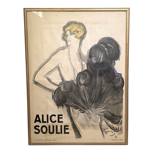"""Antique 1926 Multimedia Poster by Jean Gabriel Domerge """"Alice Soulie"""" Watercolor Gouache Charcoal on Paper With Christie's Coa For Sale"""