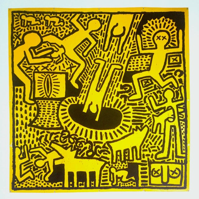 "Lithograph Keith Haring Estate Rare Vintage 1993 Collector's Pop Art Lithograph Print ""Yellow People"" 1981 For Sale - Image 7 of 8"