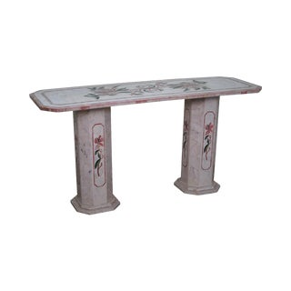 Italian Pietra Dura Onyx Marble Inlaid Mosaic Console Table For Sale