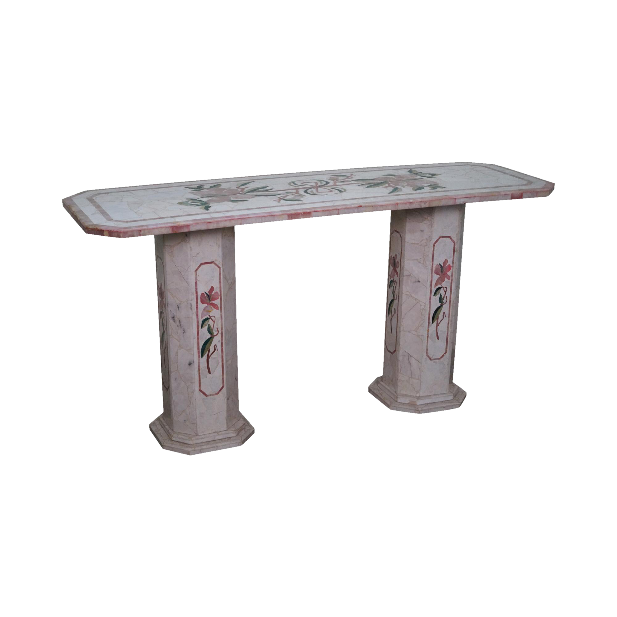 Perfect Italian Pietra Dura Onyx Marble Inlaid Mosaic Console Table