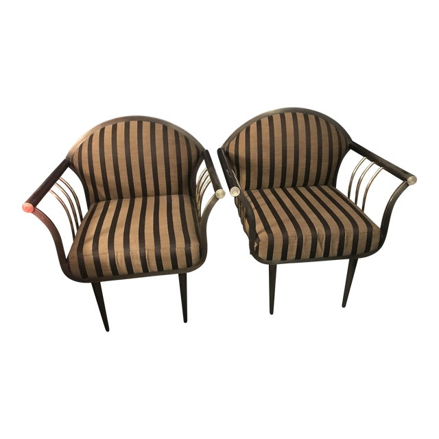 Pierre Cardin Style Gun Metal & Brass Bergere Chairs - A Pair For Sale