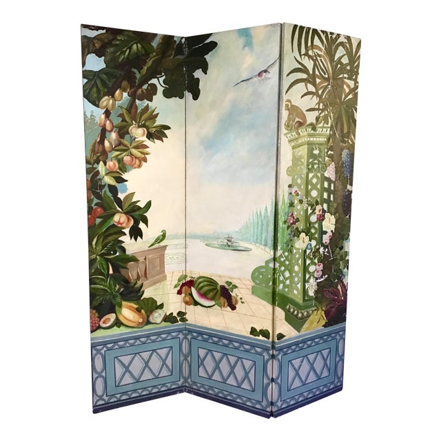 Maitland Smith Handpainted 3-Panel Screen For Sale