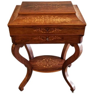 Charles X Inlaid Rosewood Ladies Vanity, Early 19th Century For Sale