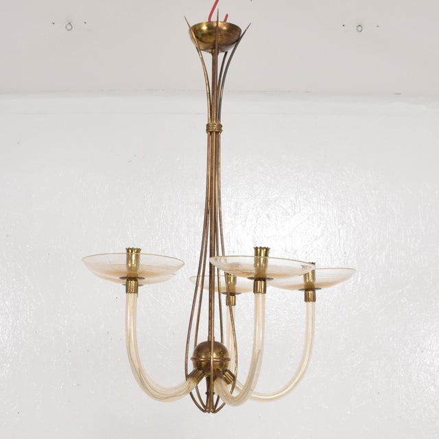 For your consideration a vintage modern Italian chandelier. Constructed with Murano and brass. Sculptural shape with...