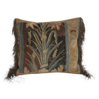 Custom Pillow Made From 18th Century Tapestry Fragment For Sale