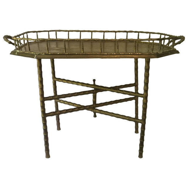 Vintage Brass Bamboo Tray Table - Image 1 of 6