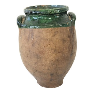 Antique Confit Pot With Green Glaze For Sale