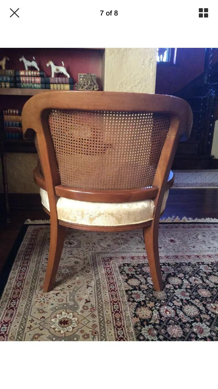 Vintage Carved Cane French Barrel Chair   Image 5 Of 10