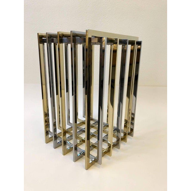 Brass and Chrome Dining Table Base by Pierre Cardin For Sale - Image 10 of 11