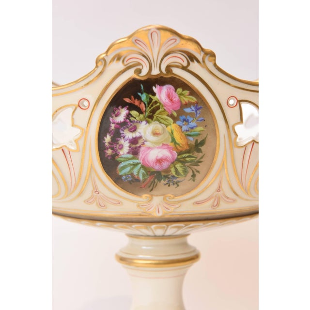 Empire 19th Century Old Paris Porcelain Centerpiece, Hand-Painted Florals For Sale - Image 3 of 11