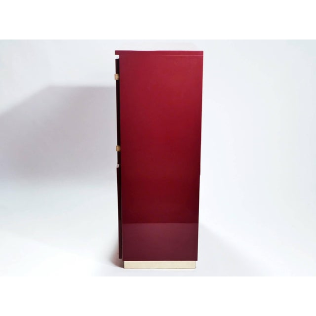 1970s Red Lacquer and Brass Cabinet by j.c. Mahey, 1970s For Sale - Image 5 of 8