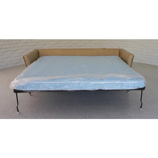 Traditional Light Camel Leather Sleeper Sofa For Sale In Palm Springs - Image 6 of 11