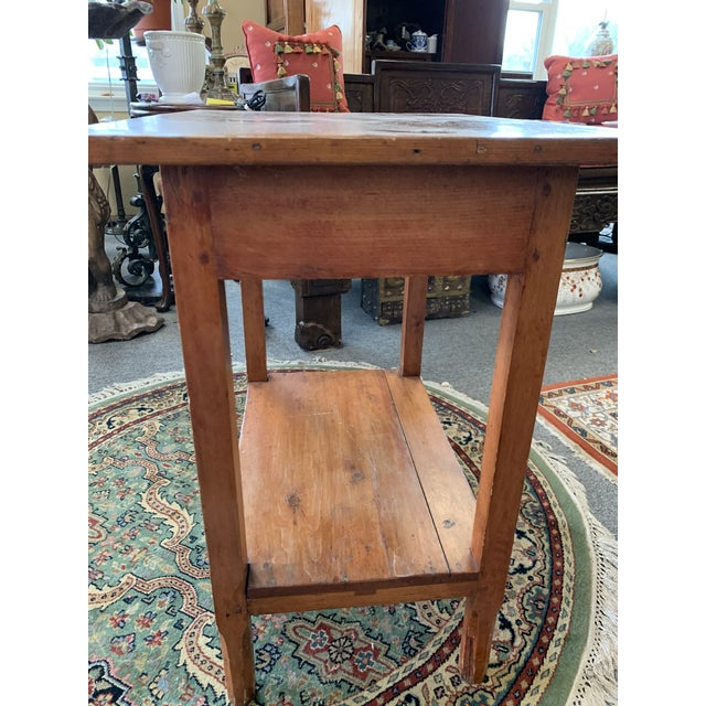 Antique Rustic Pine Two-Tier Side Table For Sale - Image 4 of 9