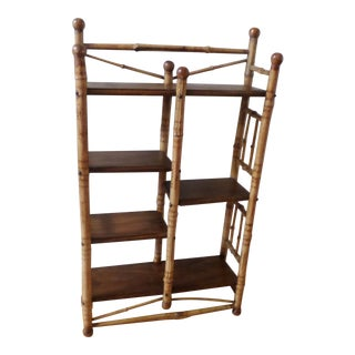 Bamboo Etagere With Burnt Decoration, 19th Century For Sale