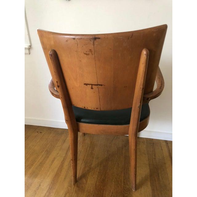 Heywood-Wakefield Heywood Wakefield Dark Green Upholstered Birch Arm Chair For Sale - Image 4 of 7