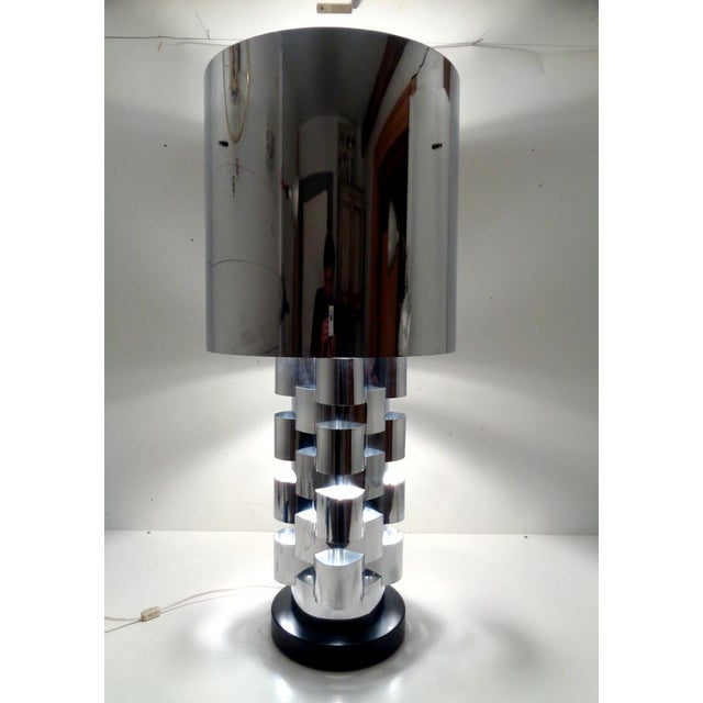 Curtis Jere Signed Curtis Jere Skyscraper Interplay Chromed Steel Table Lamp For Sale - Image 4 of 12