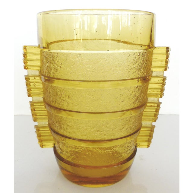 Czech Etched Geometric Vase - Image 8 of 9