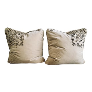 Ivory Velvet and Silk Pillows With Metallic Applique With Down Inserts- a Pair For Sale