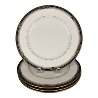 1980s Noritake China Gold and Black Dinner Plates - Set of 4 For Sale