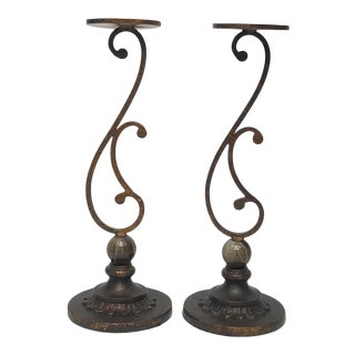 Metal & Marble Pillar Candle Holders - a Pair