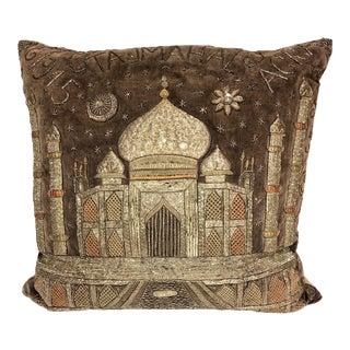 Indian Embroidered Velvet Taj Mahal Pillow For Sale
