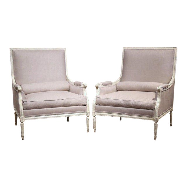 Pair of 19th Century French Louis XVI Carved Painted Armchairs With Pillows For Sale