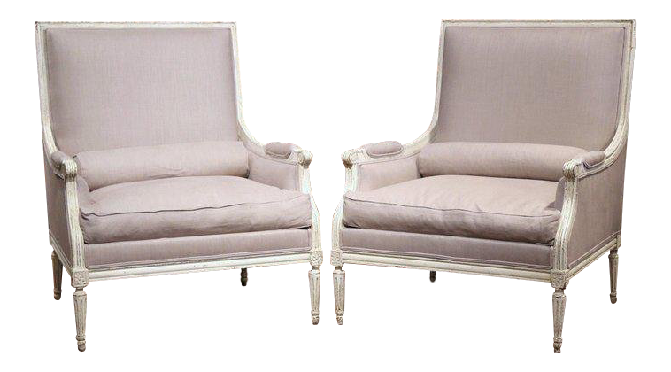 Pair Of 19th Century French Louis XVI Carved Painted Armchairs With Pillows