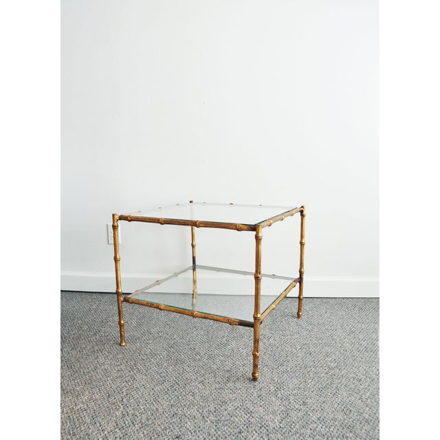 Vintage Italian Gold Gilt Faux Bamboo Table - Image 3 of 11