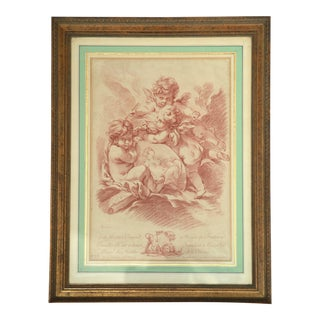 Antique Angel Etching, Framed For Sale