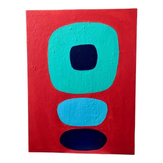 "Abstract ""Blue Dots"" Acrylic Painting For Sale"