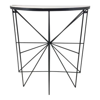 Modern White Marble and Iron Demi-Lune Console Table For Sale