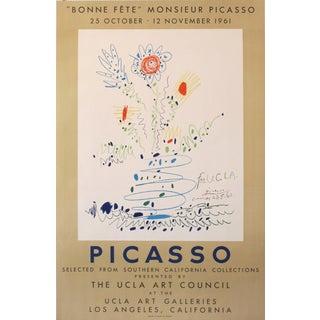 1961 Original Exhibition Poster, Bonne Fête M. Picasso, Ucla Art Galleries