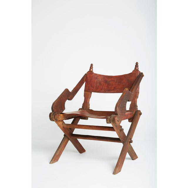 Leather & Carved Wood Mexican Modern Chair - Image 4 of 5