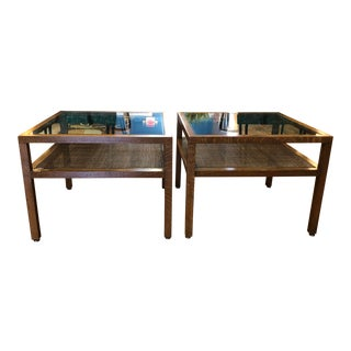 Pair of Mid Century Modern Wood & Glass Side Tables W/Caned Shelf 1970's For Sale