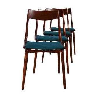 Set of 4 Danish Modern Boomerang Dining Chairs by Erik Christensen, Early '50s For Sale