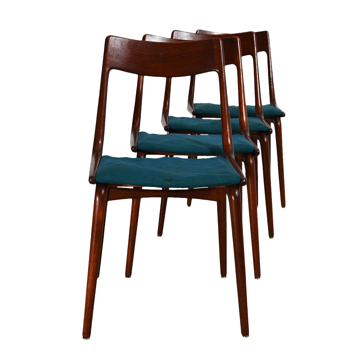 Set Of 4 Danish Modern Boomerang Dining Chairs By Erik Christensen, Early  U002750s