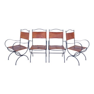 1940s French Iron & Leather Chairs, S/4 For Sale