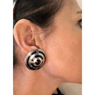 Taxco Mexican Sterling and Onyx Bullseye Earrings Preview