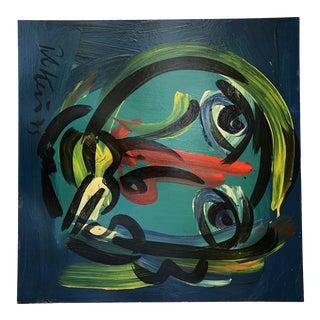 Vintage Peter Robert Keil 1975 Signed Expressionist Portrait Painting For Sale