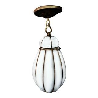 1950s Mid-Century Modern Seguso Murano Caged Milk Glass Pendant