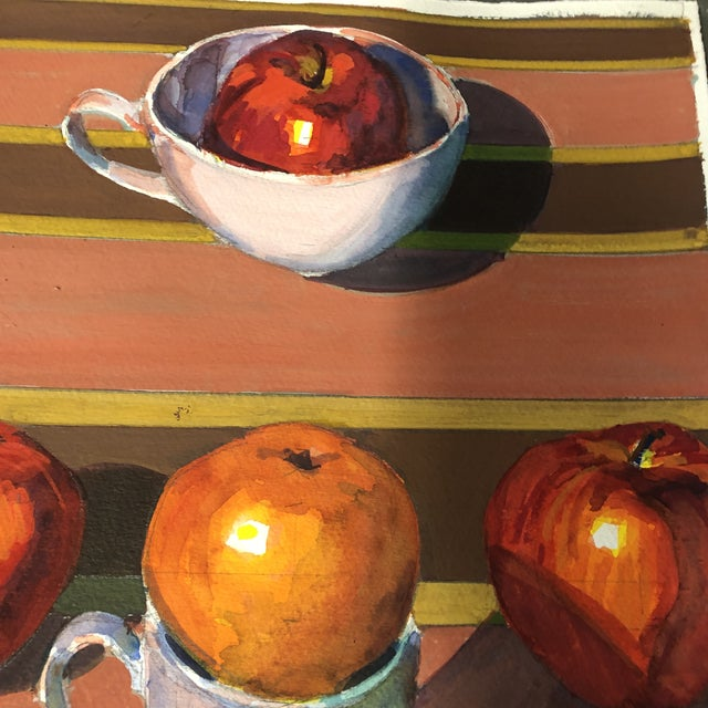 Contemporary Vintage Original Gouache Still Life With Apples Painting For Sale - Image 3 of 5