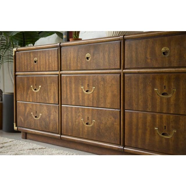 Vintage Campaign Nine Drawer Dresser by Drexel For Sale In Los Angeles - Image 6 of 13
