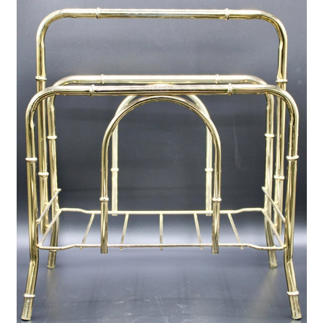 Vintage Brass Bamboo Style Magazine Rack / Book Shelf For Sale - Image 13 of 13
