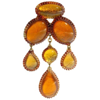 Honey Amber Talosel Dangling Pin Brooch Executed by the Workshop of Line Vautrin For Sale
