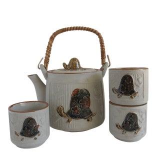 Mid-Century Turtle Teapot & Cups