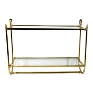 Vintage Solid Brass and Glass Shelf Unit For Sale