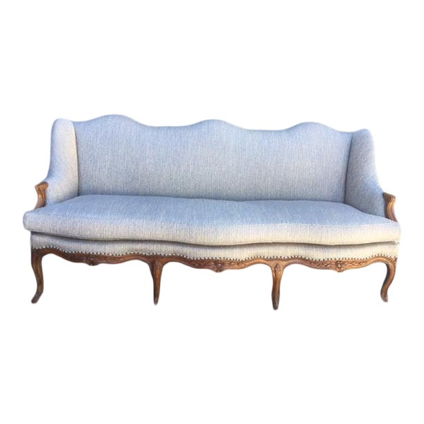 18th Century French Walnut Camel Back Sofa For Sale