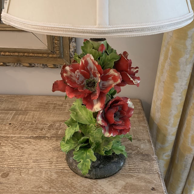 Traditional Vintage Fine Porcelain Red Anemone Flower Lamp With Shade For Sale - Image 3 of 11