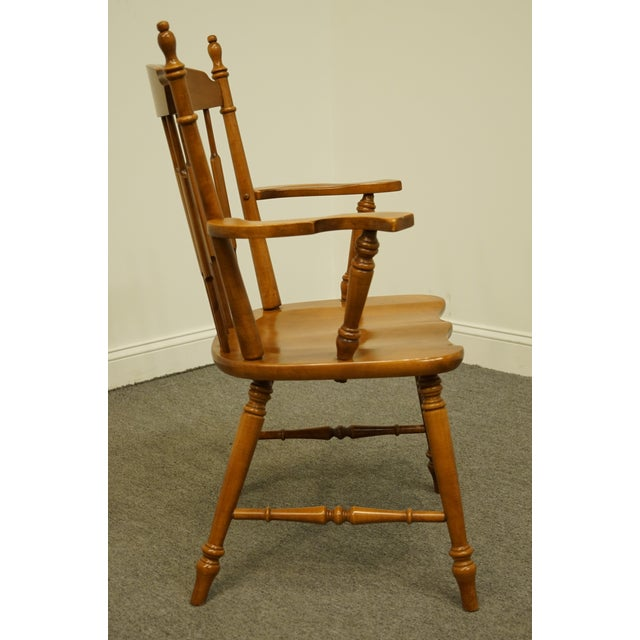 Brown Tell City Maple Colonial Cattail Back Arm Chair For Sale - Image 8 of 9